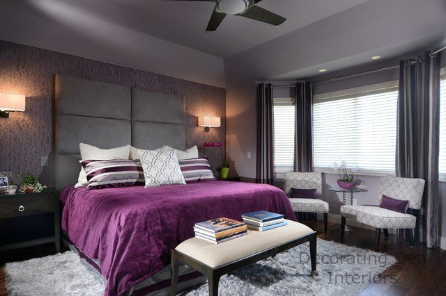 Best Purple And Gray Contemporary Master Bedroom Contemporary With Pictures