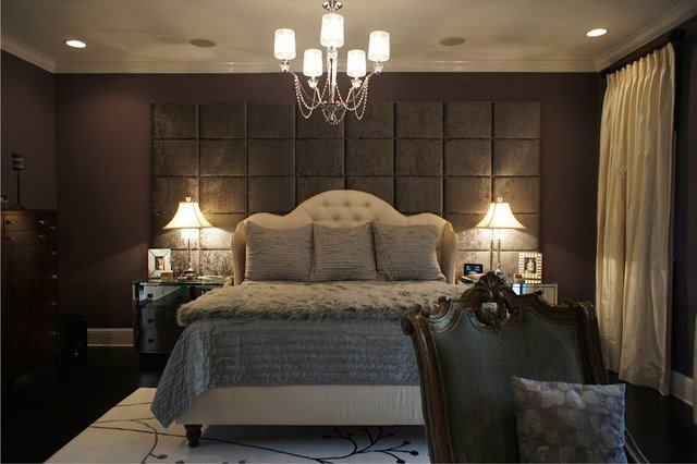 Best Wall Of Upholstered Panels Traditional Bedroom With Pictures