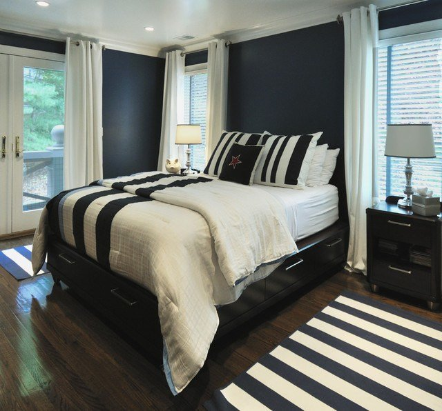 Best Navy And White Bedroom Contemporary Bedroom Miami With Pictures