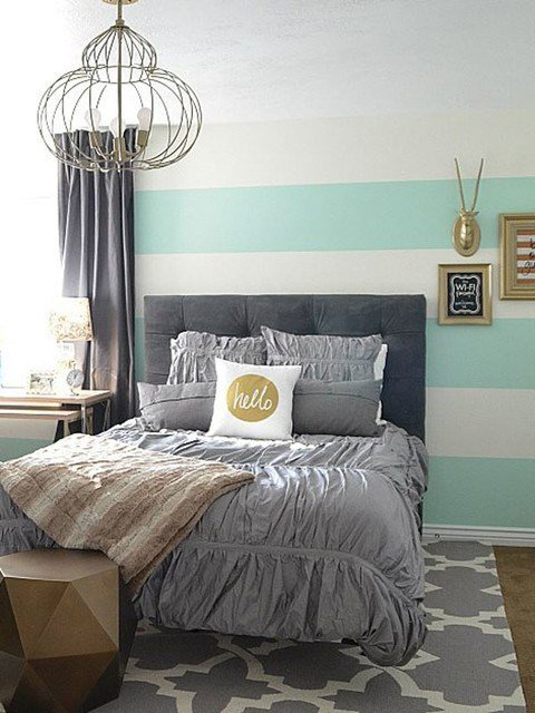 Best An Aqua Gold And Gray Guest Bedroom Transitional With Pictures