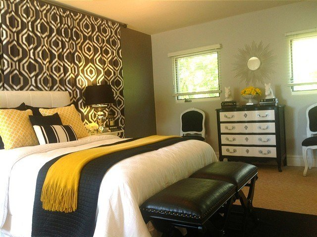 Best Black White Grey Grey And Gold Bedroom Contemporary With Pictures