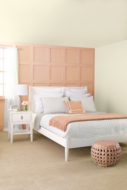Best Peach Gray Transitional Bedroom By Lowe S Home With Pictures