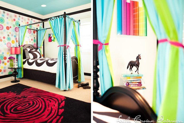 Best Blue And Green Neon Girl S Bedroom Contemporary Kids With Pictures