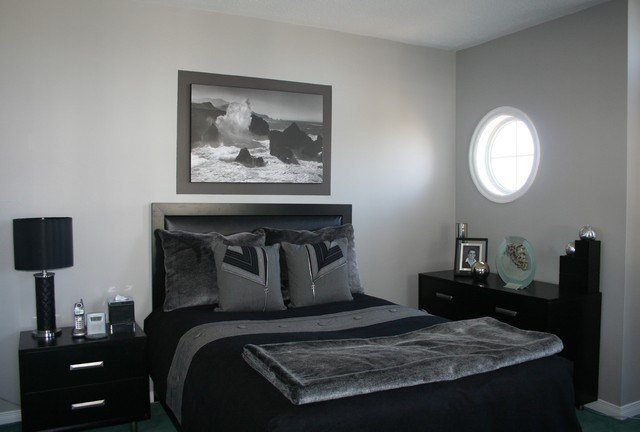 Best Grey Black Bedroom Contemporary Bedroom Ottawa With Pictures