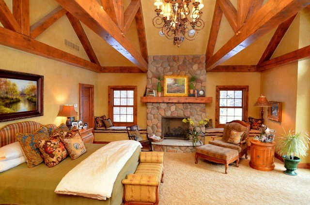 Best Log Home Master Suite Addition Rustic Bedroom Detroit By Town And Country Interiors With Pictures