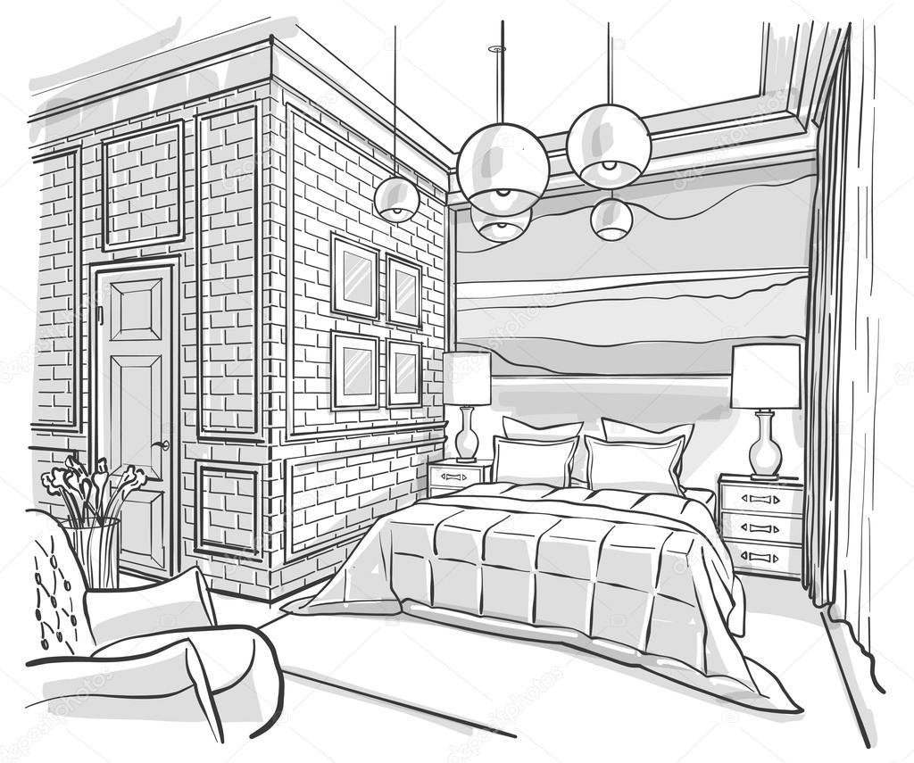 Best Bedroom Interior Outline Vector Sketch Drawing — Stock With Pictures