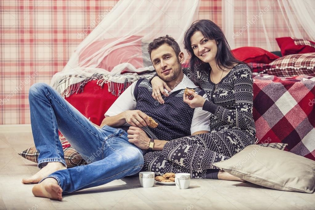 Best Couple Man And Woman In The Bedroom At Home Drinking Tea With Pictures