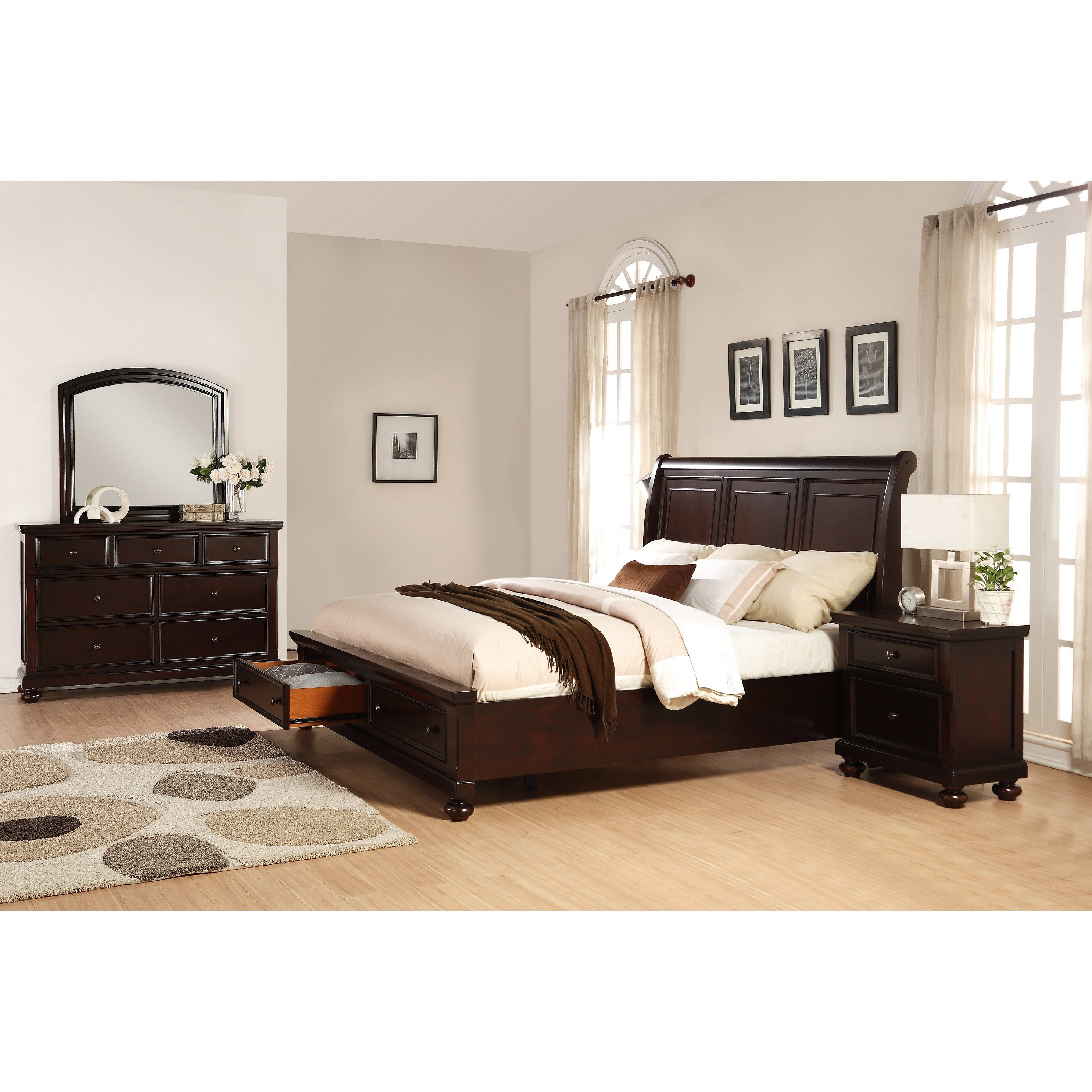Best Roundhill Furniture Brishland Platform 4 Piece Bedroom Set With Pictures