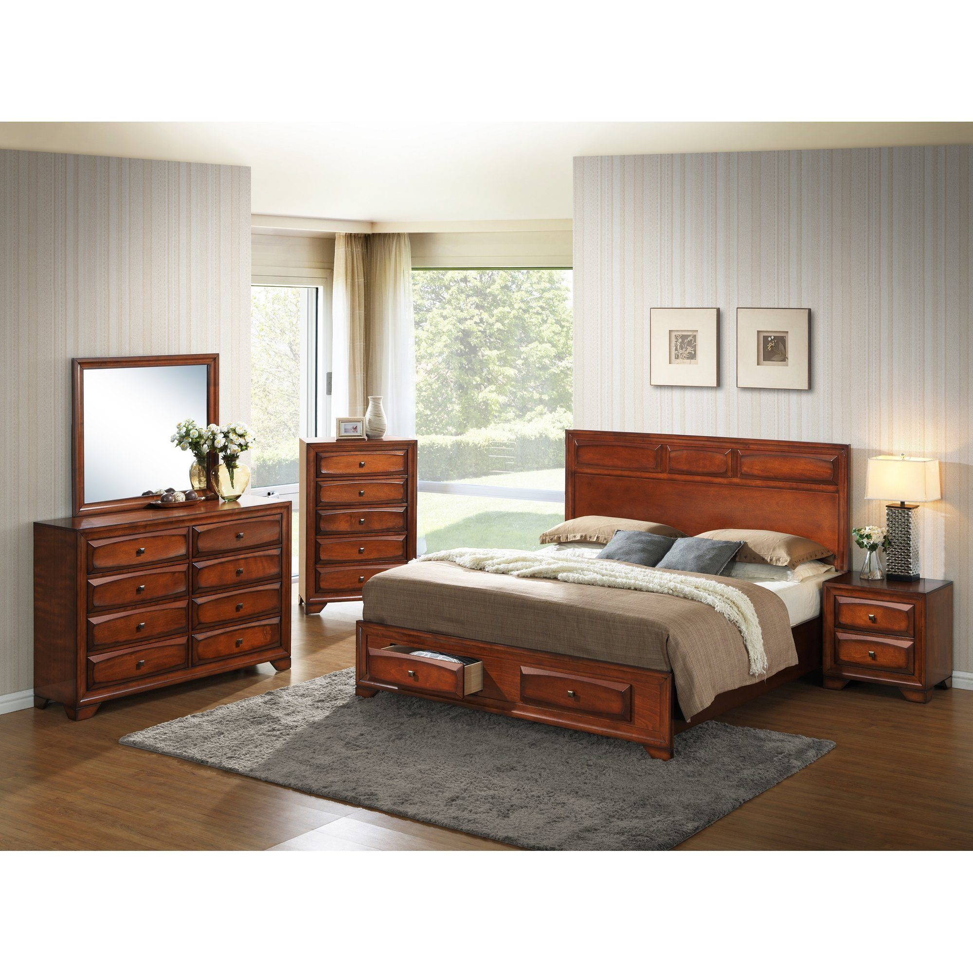 Best Roundhill Furniture Oakland Platform 5 Piece Bedroom Set With Pictures