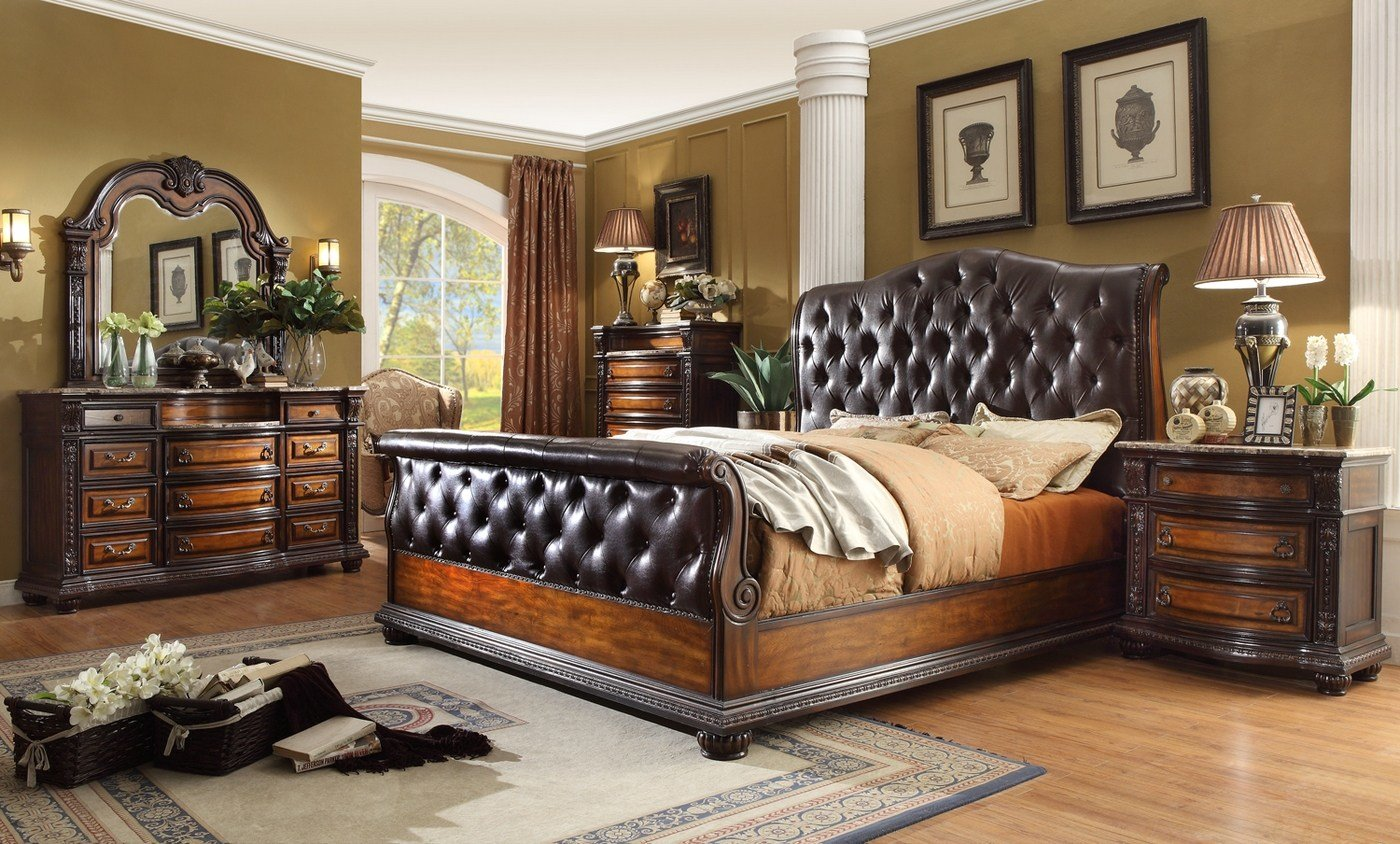 Best Angelina Antique Brown Button Tufted Leather Bedroom Set With Pictures