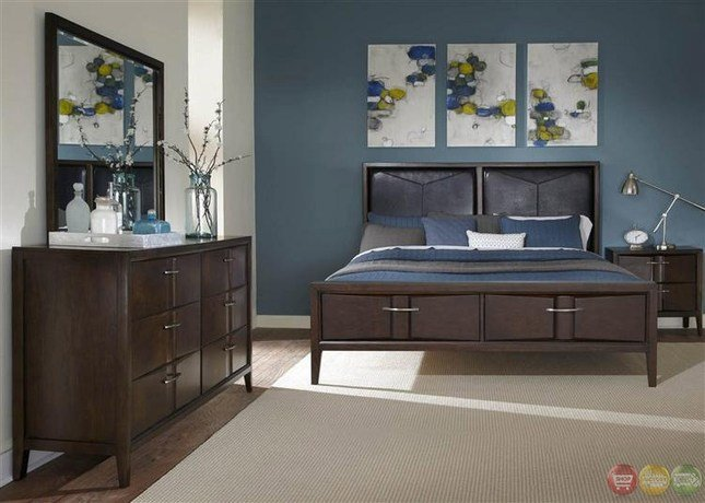 Best Arterra Contemporary Java Finish Storage Bedroom Set With Pictures