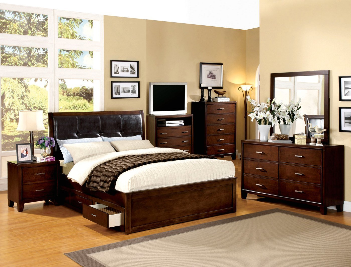 Best Enrico Iv Contemporary Brown Cherry Platform Storage Bedroom Set With Padded Leatherette With Pictures
