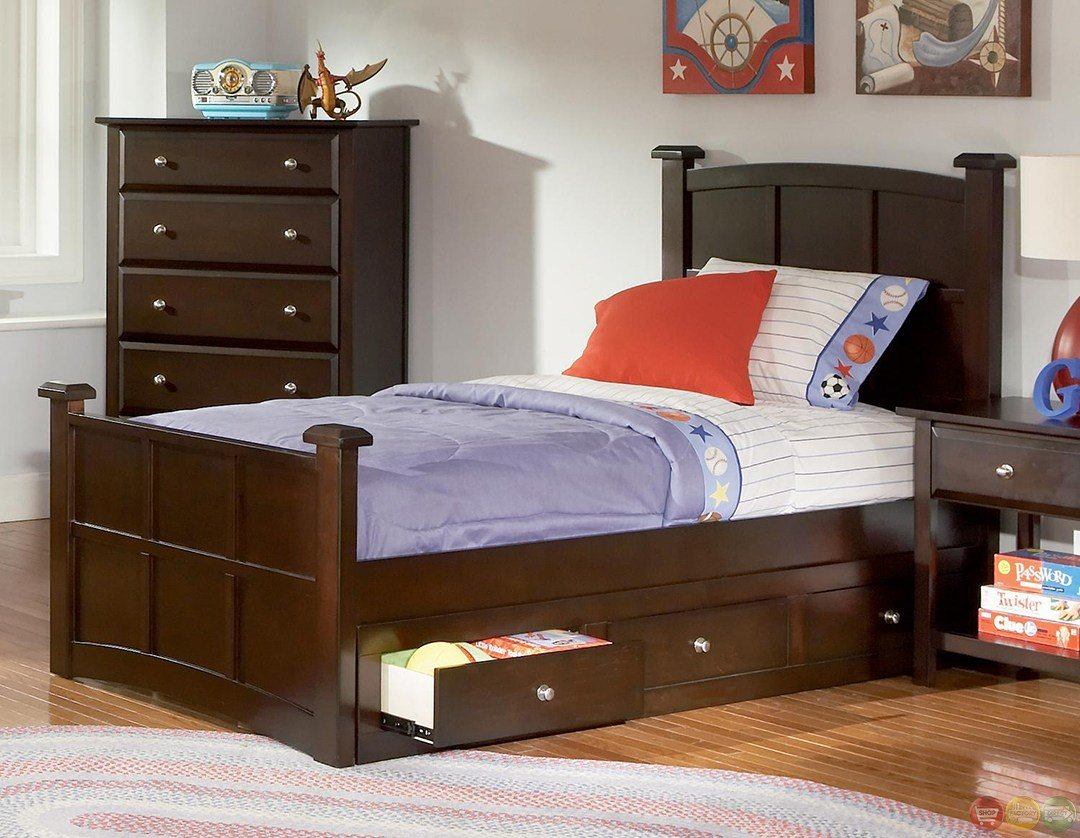 Best Jasper Cappuccino Panel Storage Youth Bedroom Set With Pictures