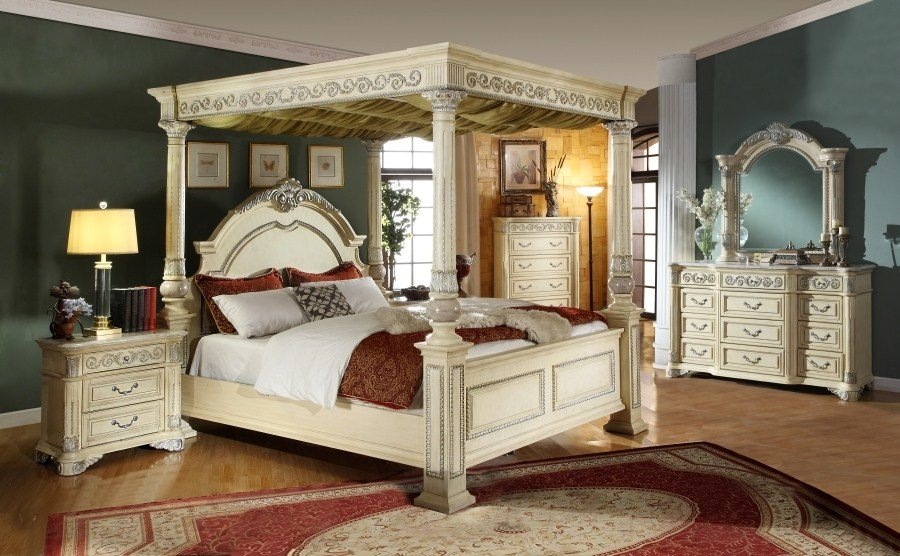 Best Kamella Antique White Traditional Poster Canopy Bedroom With Pictures