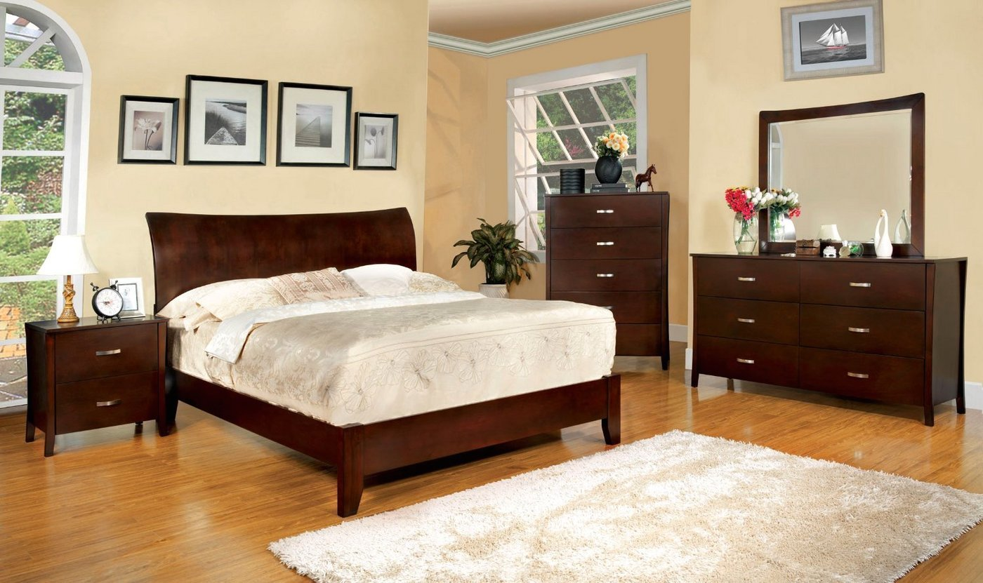 Best Midland Contemporary Brown Cherry Bedroom Set With Wooden With Pictures