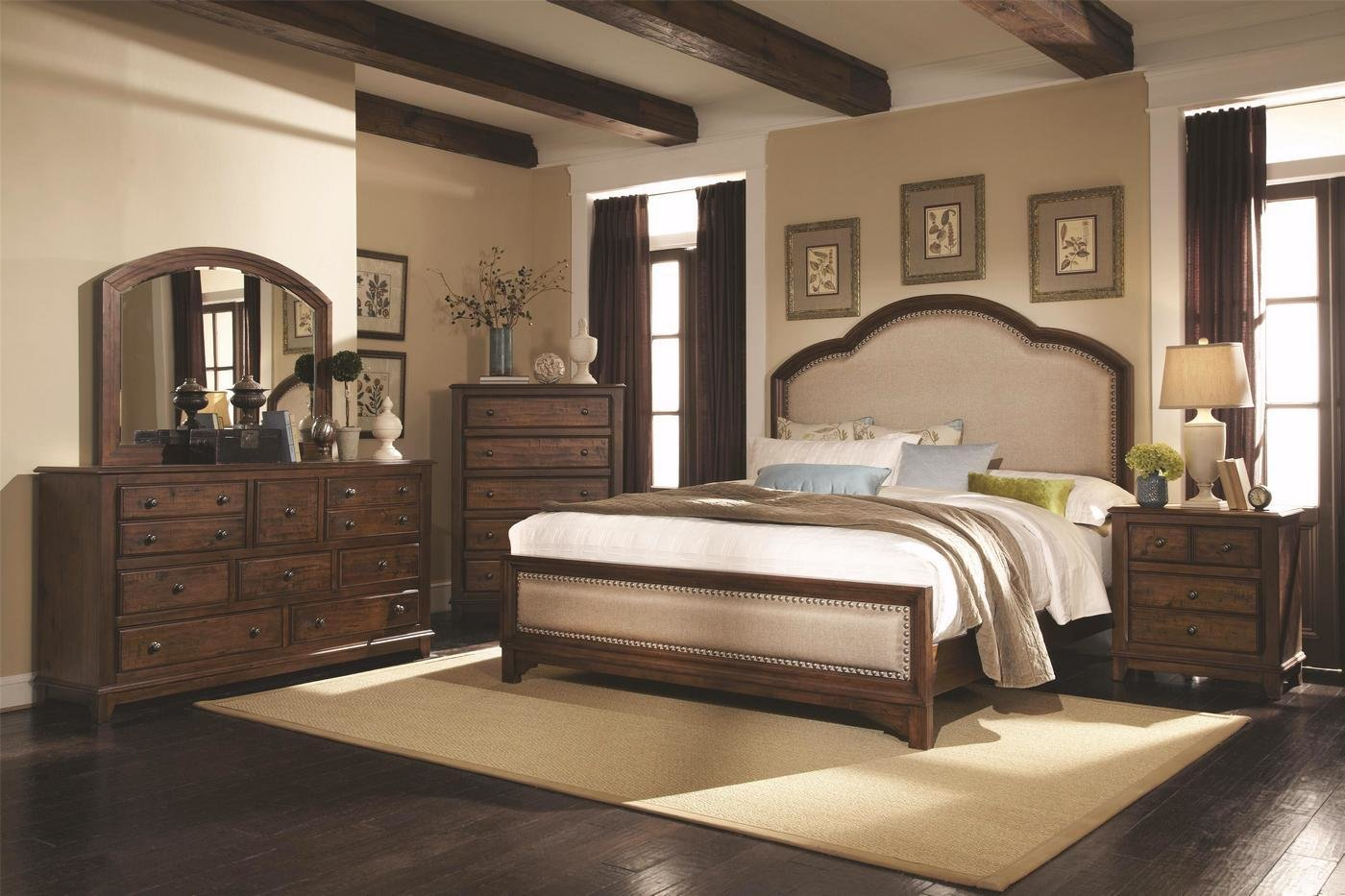 Best Upholstered Headboard Laughton Rustic Bedroom Set With Pictures