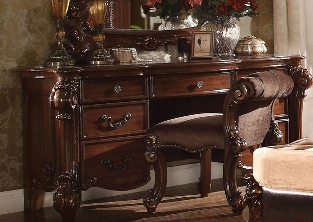 Best Vendome Victorian 7 Drawer Bedroom Vanity Desk In Cherry With Pictures