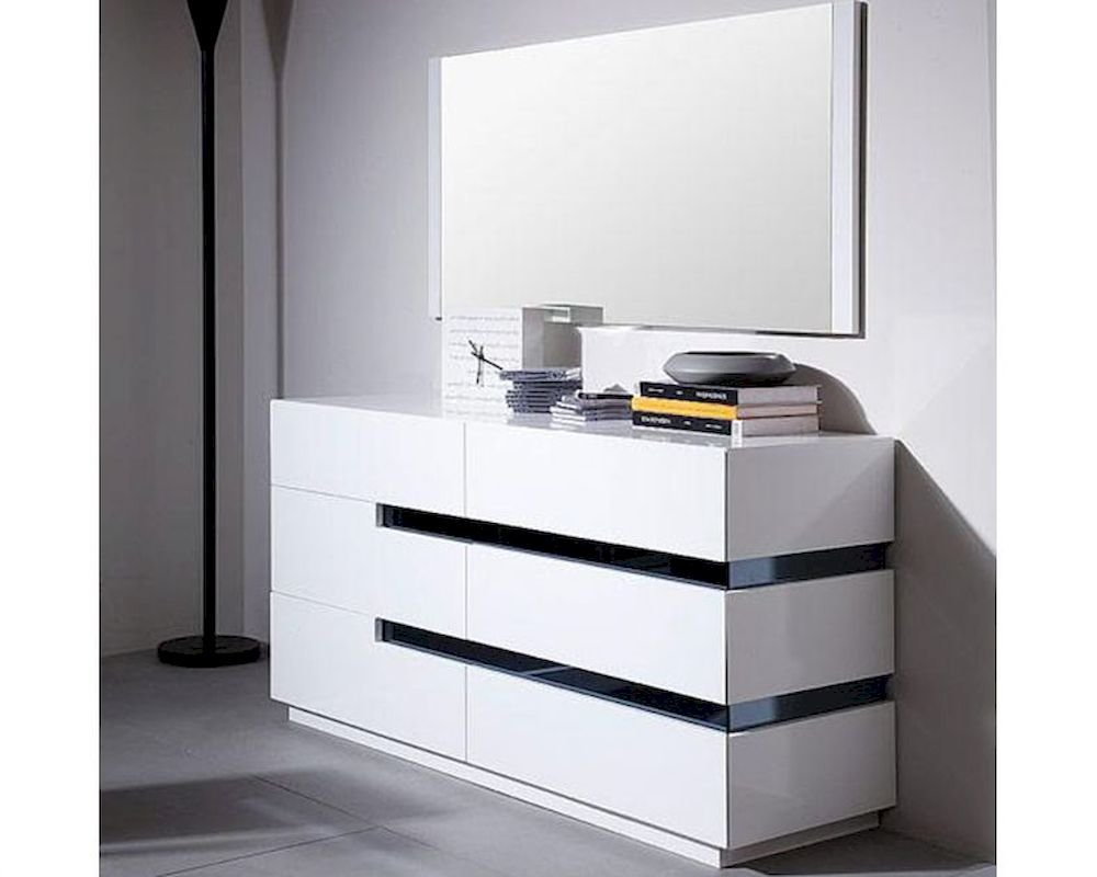 Best Modern Style White Dresser W Mirror 44B1601Dr With Pictures