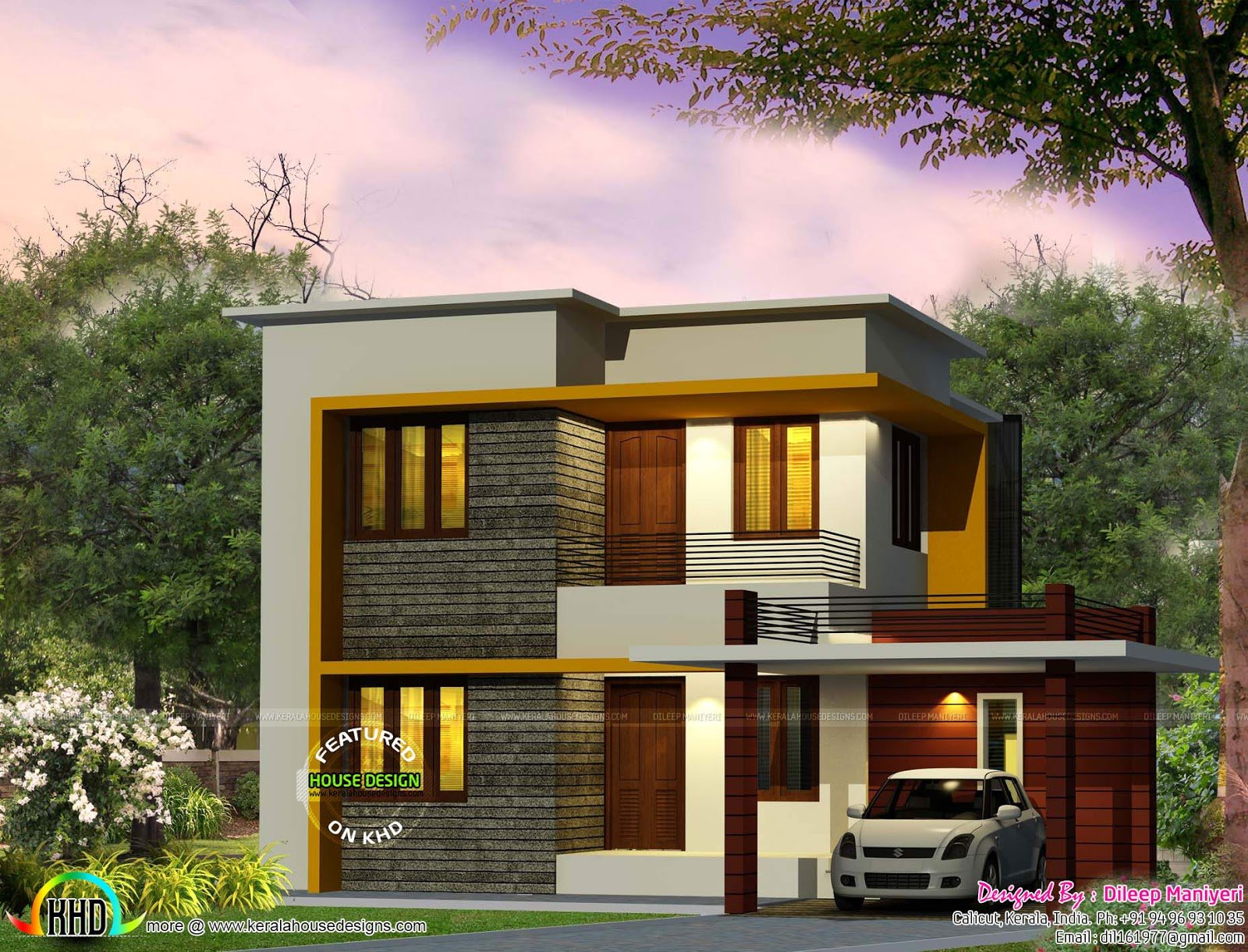 Best Cute 4 Bedroom Modern House 1670 Sq Ft Kerala Home Design And Floor Plans With Pictures