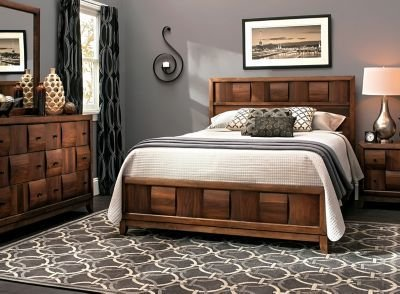 Best Jovie 4 Pc King Platform Bedroom Set Light Walnut Raymour Flanigan With Pictures