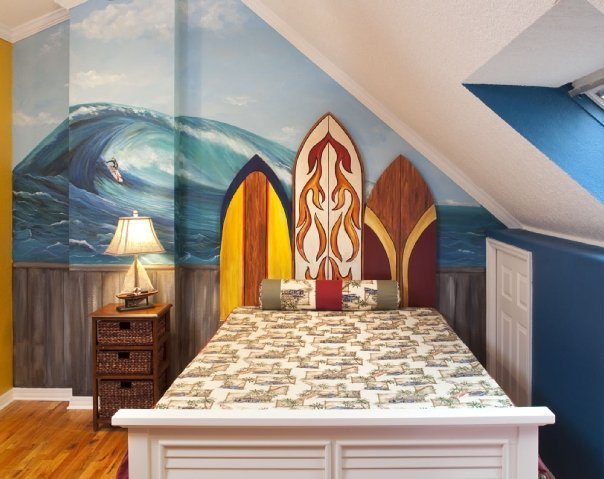 Best Coastal Surf Theme Boy's Bedroom With Pictures