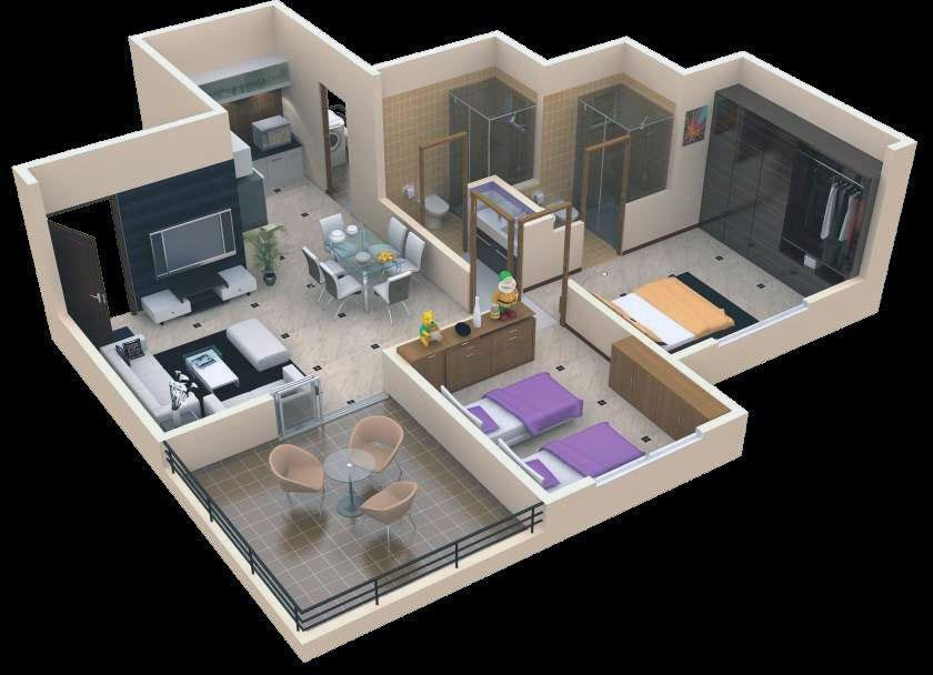 Best Simple 3D Images Of Two Bedrooms Hall Kitchen Plan With Pictures