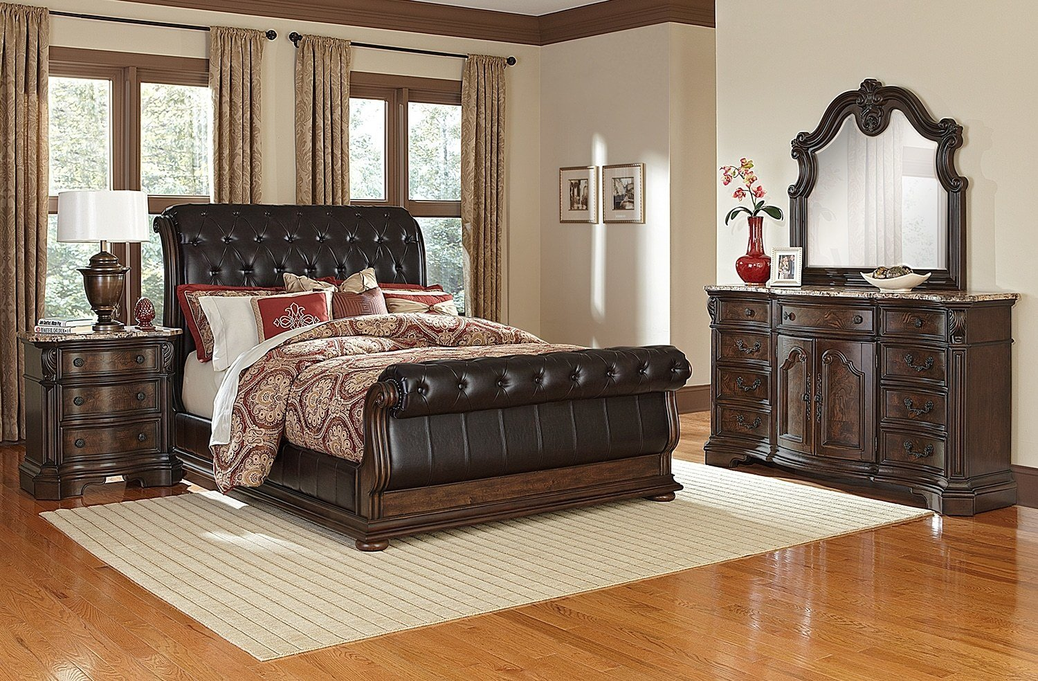Best Monticello 6 Piece King Upholstered Sleigh Bedroom Set With Pictures