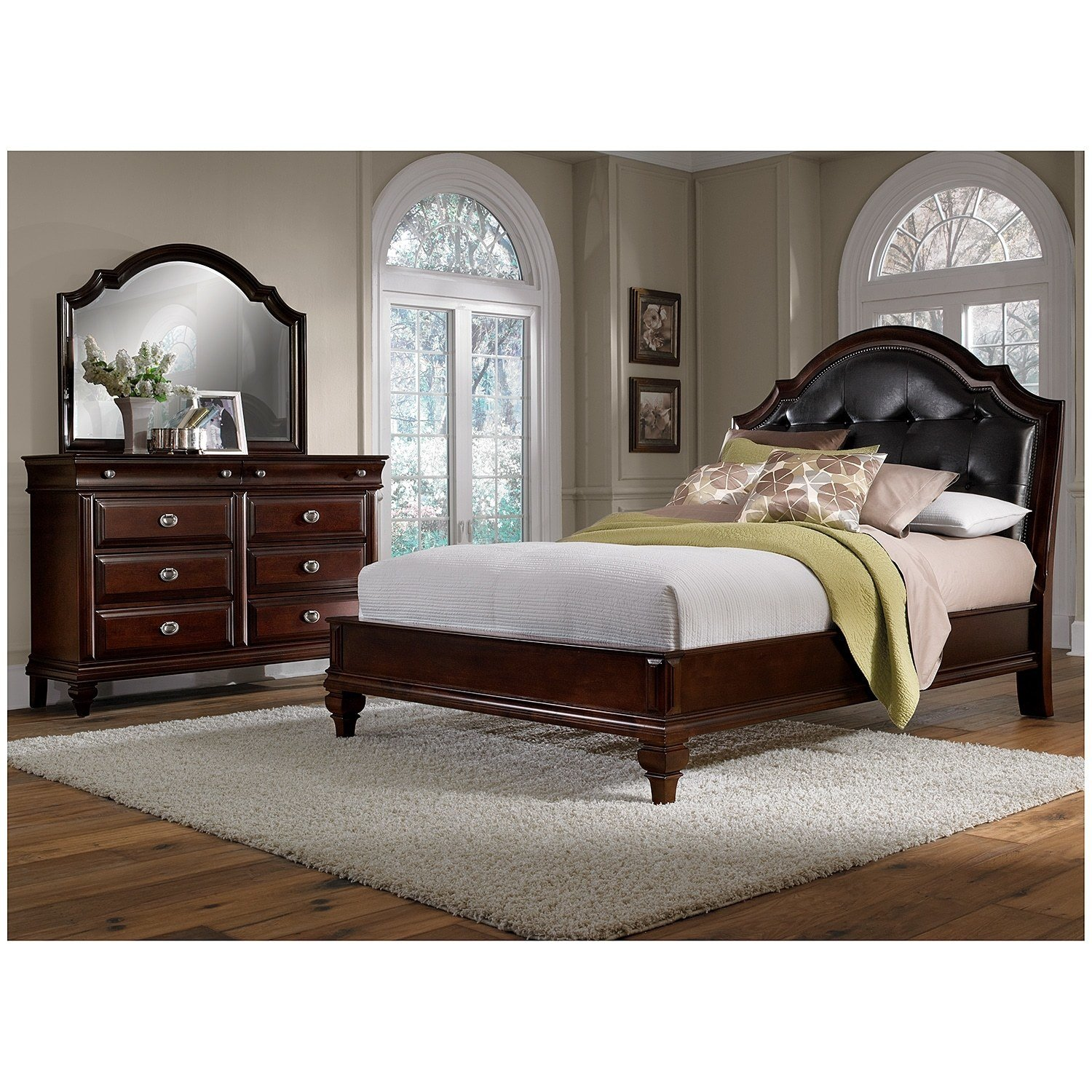 Best Manhattan 5 Piece Queen Bedroom Set Cherry American With Pictures