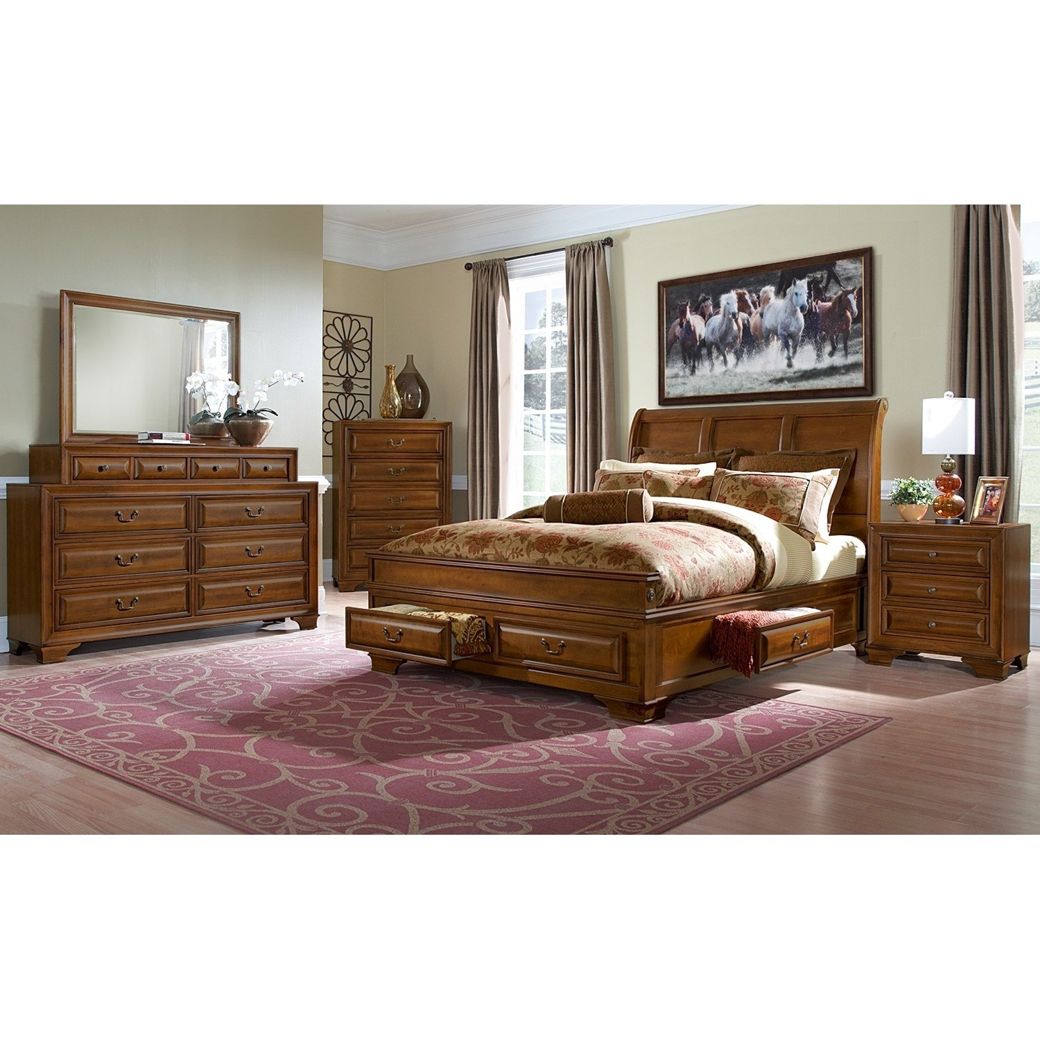 Best Sanibelle King Storage Bed Pine Value City Furniture With Pictures