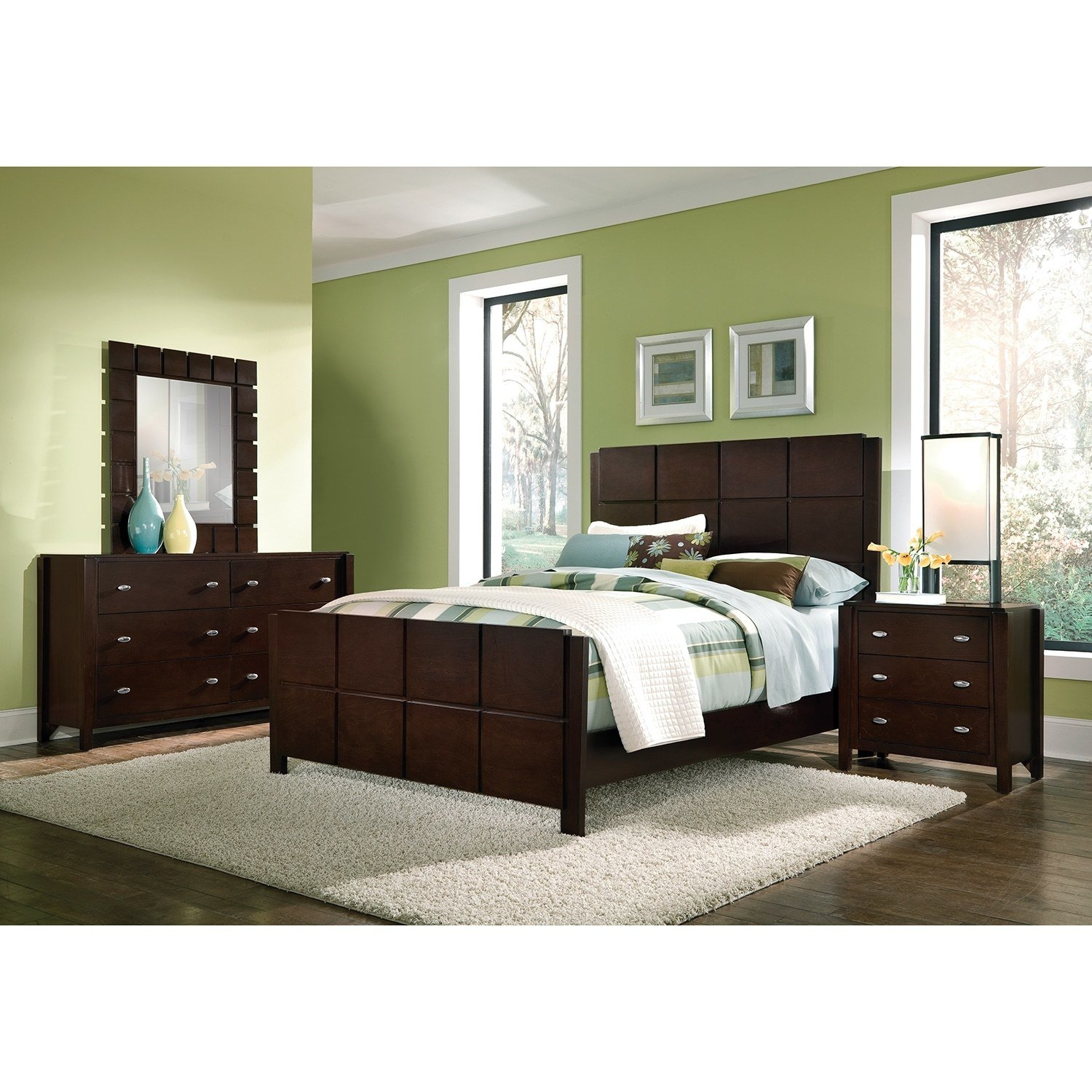 Best Mosaic 6 Piece Queen Bedroom Set Dark Brown American With Pictures