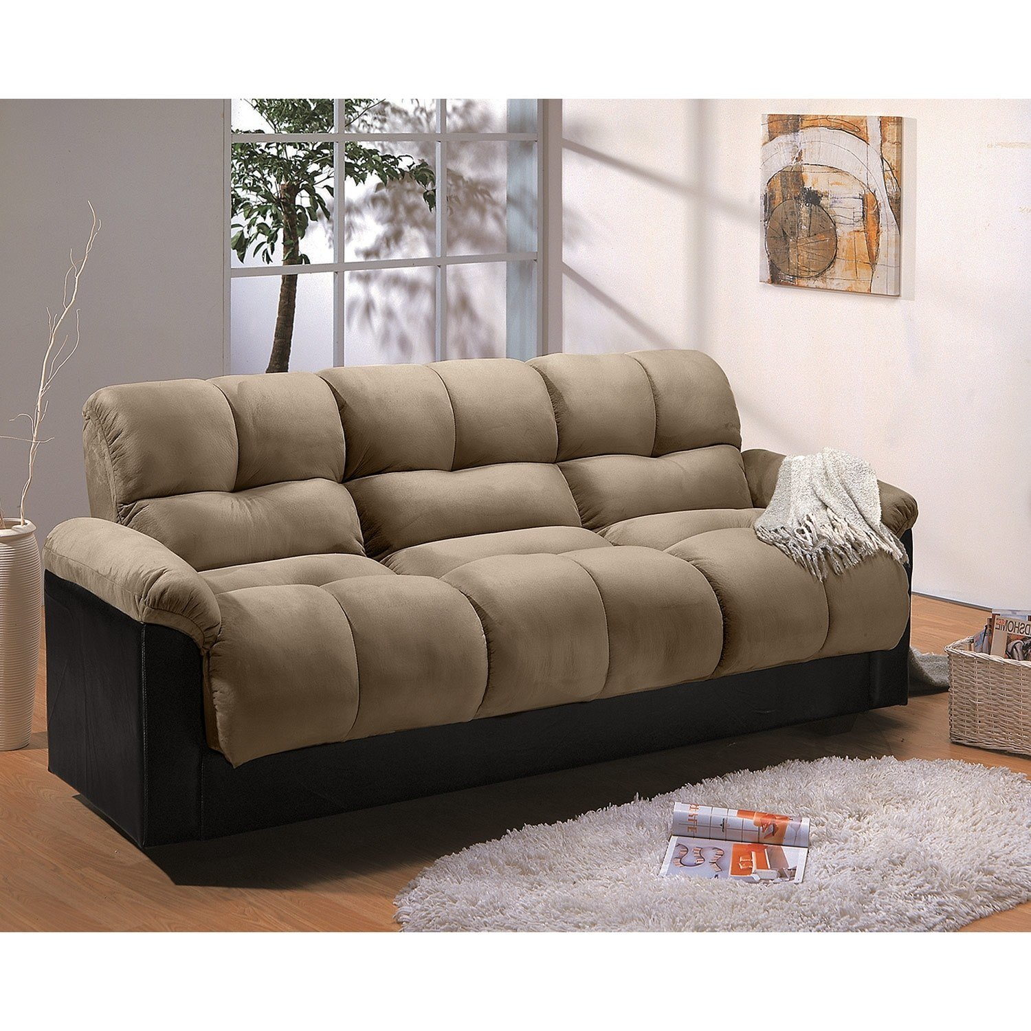 Best Ara Futon Sofa Bed With Storage Hazelnut Value City With Pictures