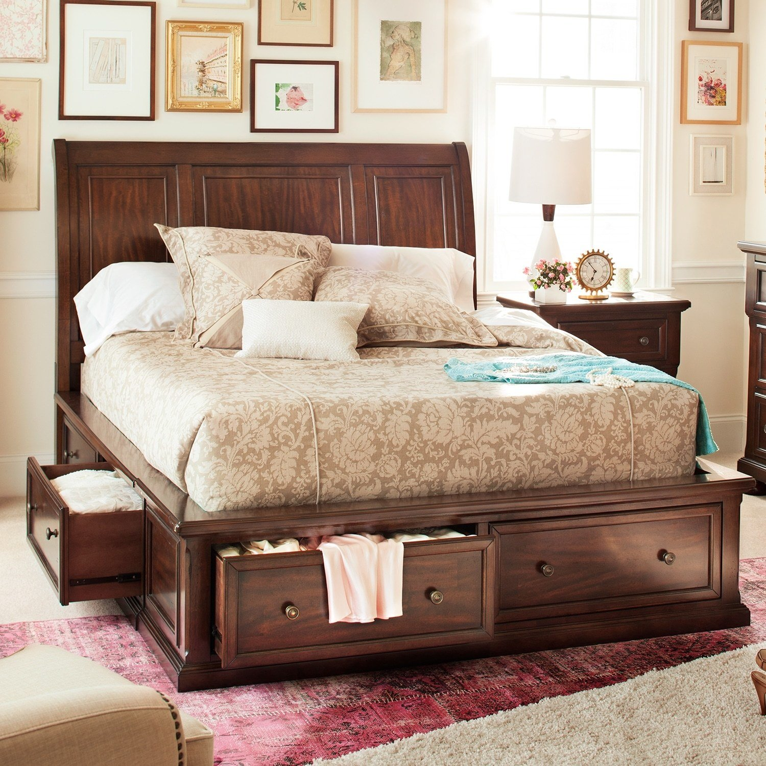 Best Hanover Queen Storage Bed Cherry Value City Furniture With Pictures