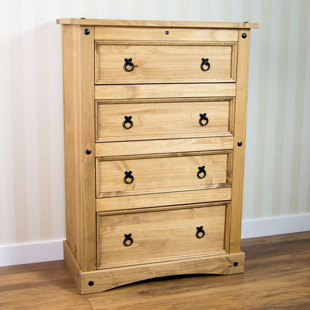 Best Corona Chest Of 4 Drawers Storage Unit Solid Mexican Waxed Pine Brand New Ebay With Pictures