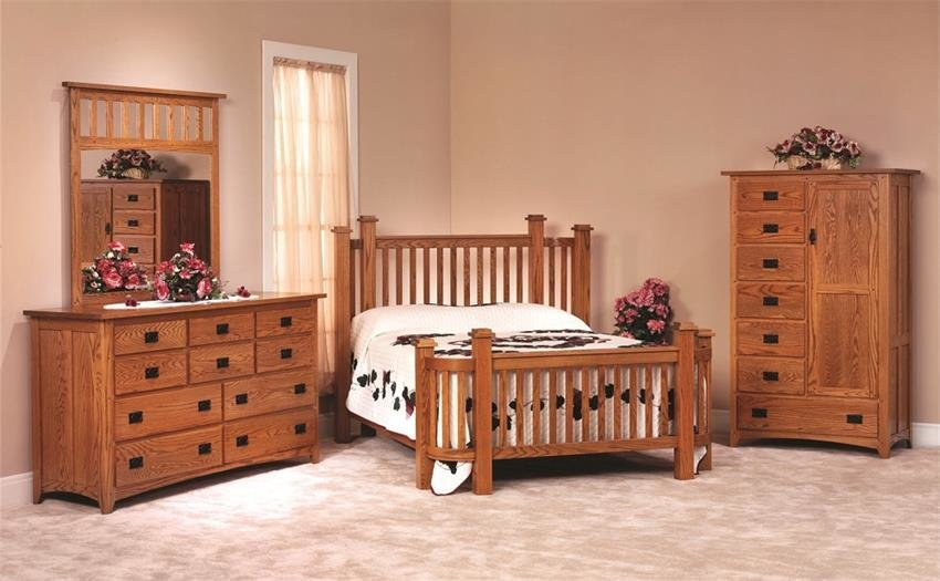 Best Amish Made Oak Mission Bedroom Set With Pictures