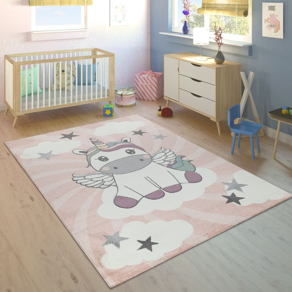 Best Rug Childrens Bedroom Girls Unicorn Clouds Pink Rug24 With Pictures