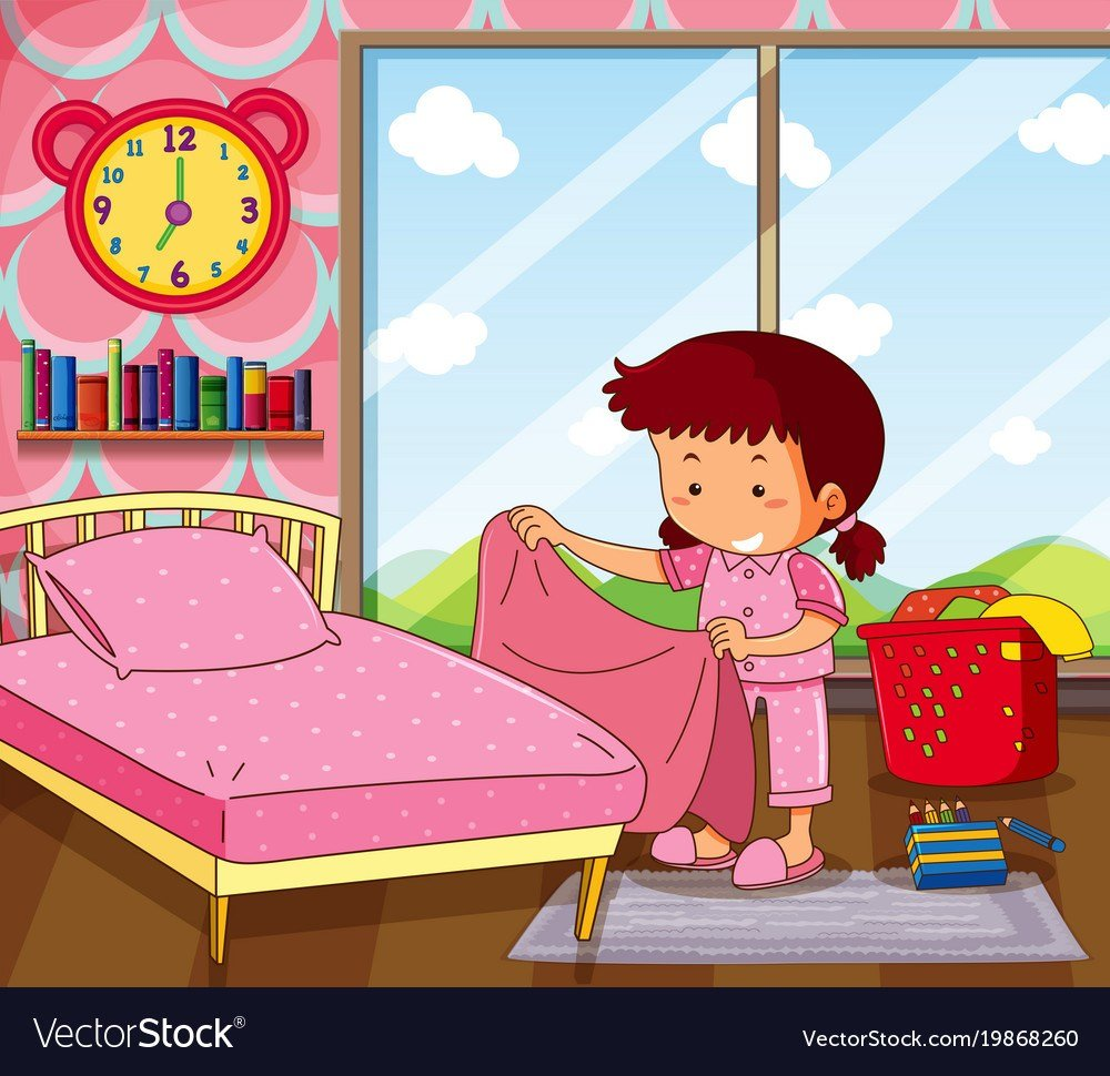 Best Girl Making Bed In Pink Bedroom Royalty Free Vector Image With Pictures