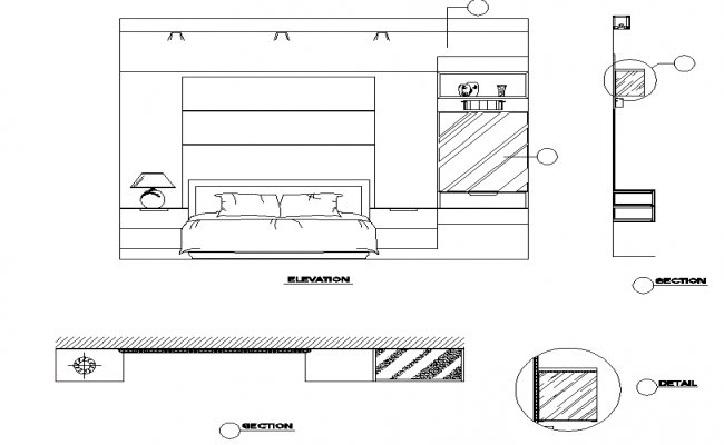 Best Bedroom Elevation And Section Dwg File With Pictures