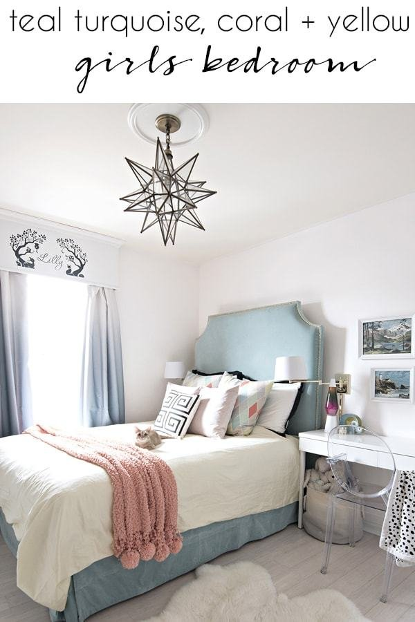 Best Teal Turquoise Coral And Yellow Girls Bedroom Cuckoo4Design With Pictures