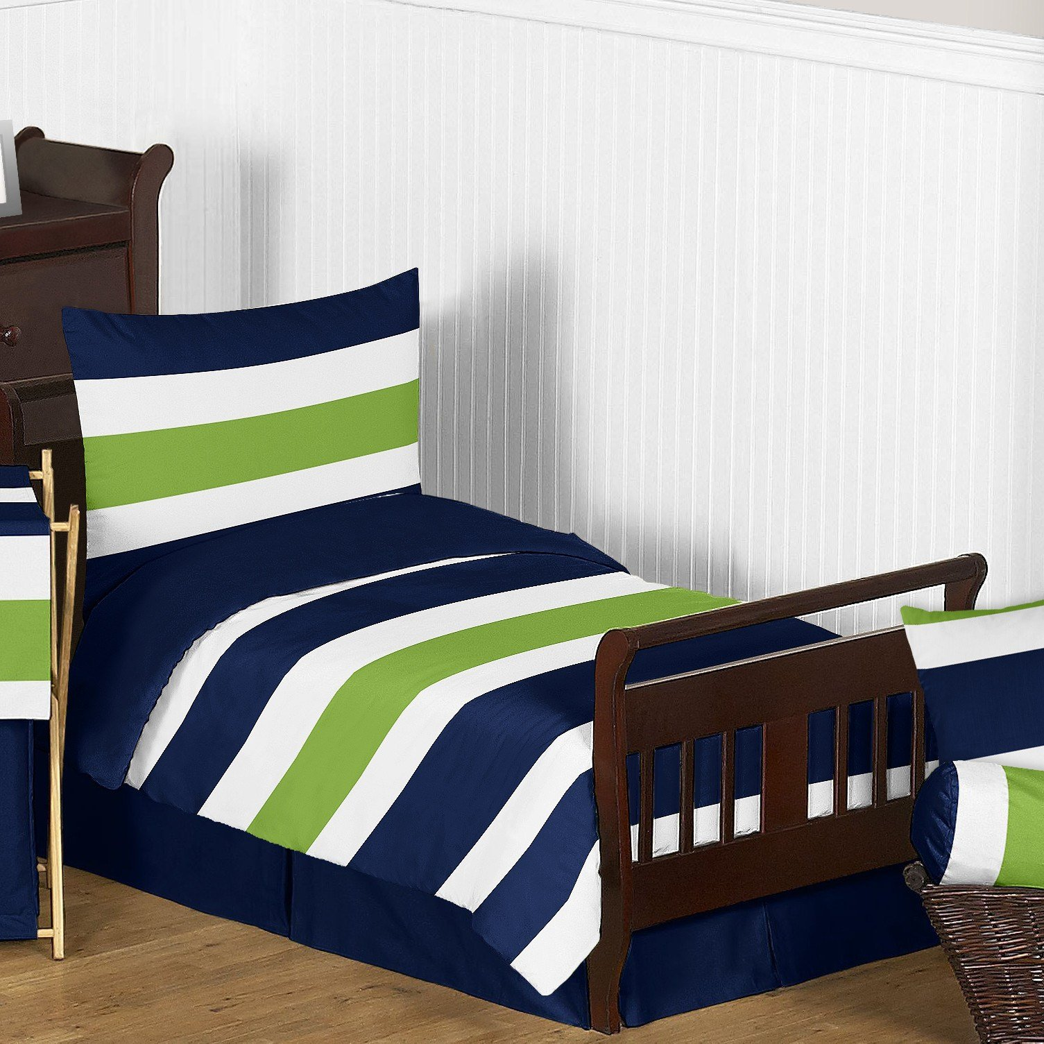 Best Sweet Jojo Designs Navy Blue And Lime Green Stripe 5 Piece With Pictures