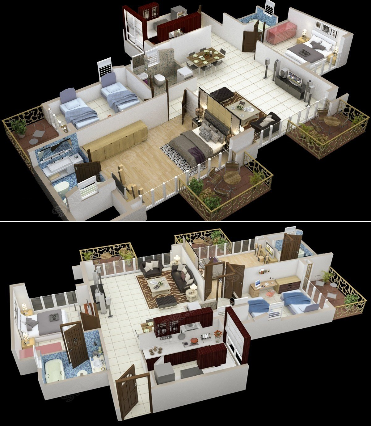 """Best 50 Three """"3"""" Bedroom Apartment House Plans Simplicity With Pictures Original 1024 x 768"""