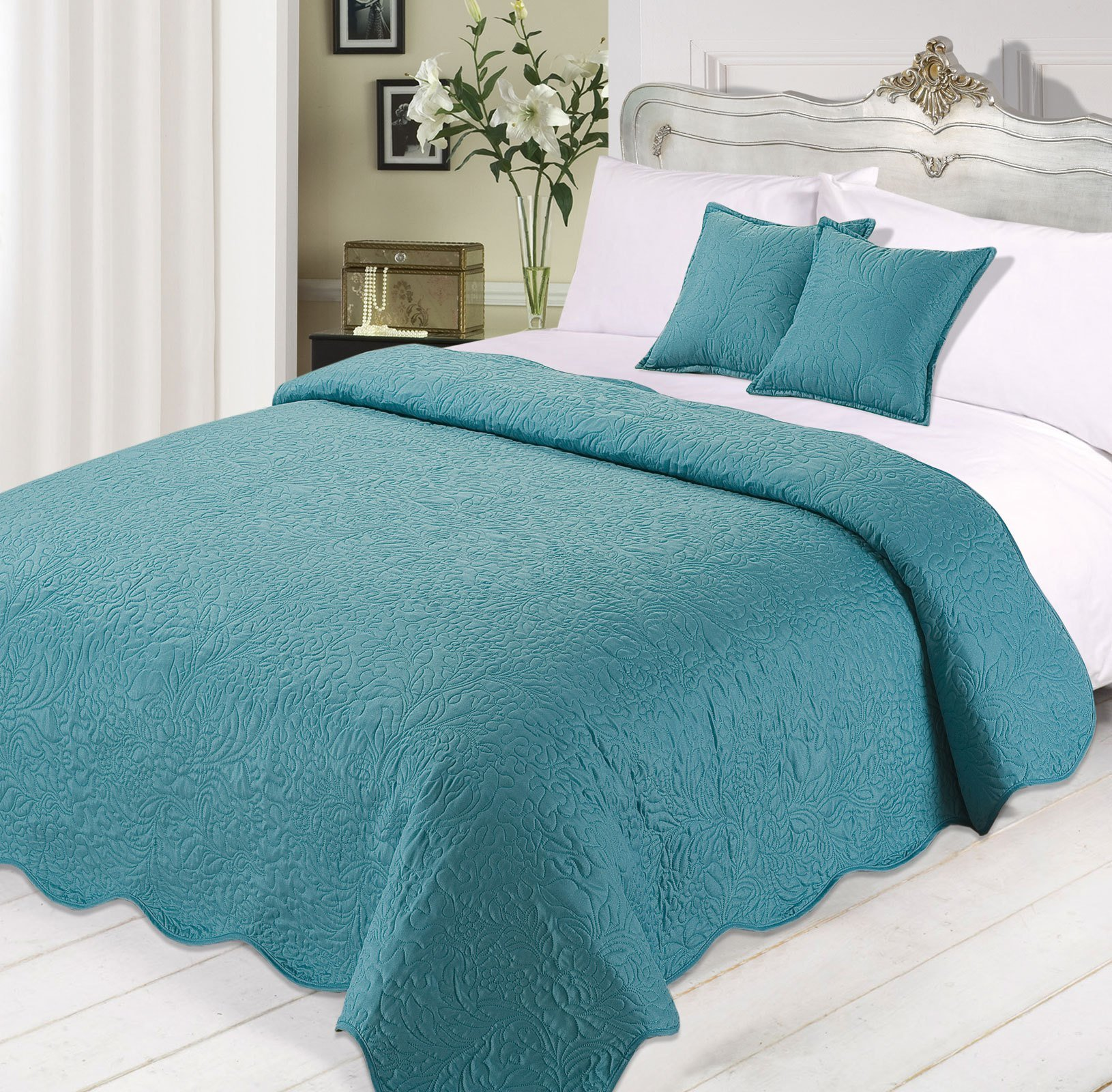 Best 3Pc Luxurious Quilted Bedspread Comforter Cushions Set With Pictures