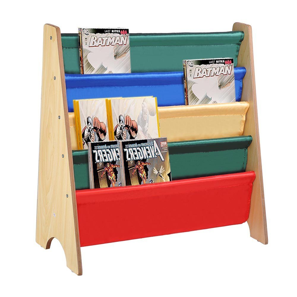 Best Wooden Sling Fabric Bookcase Bookshelf Nature Magazine With Pictures