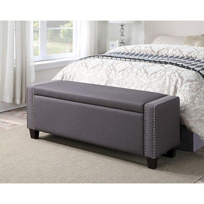 Best Upholstered Bedroom Storage Bench Trespass Slate With Pictures