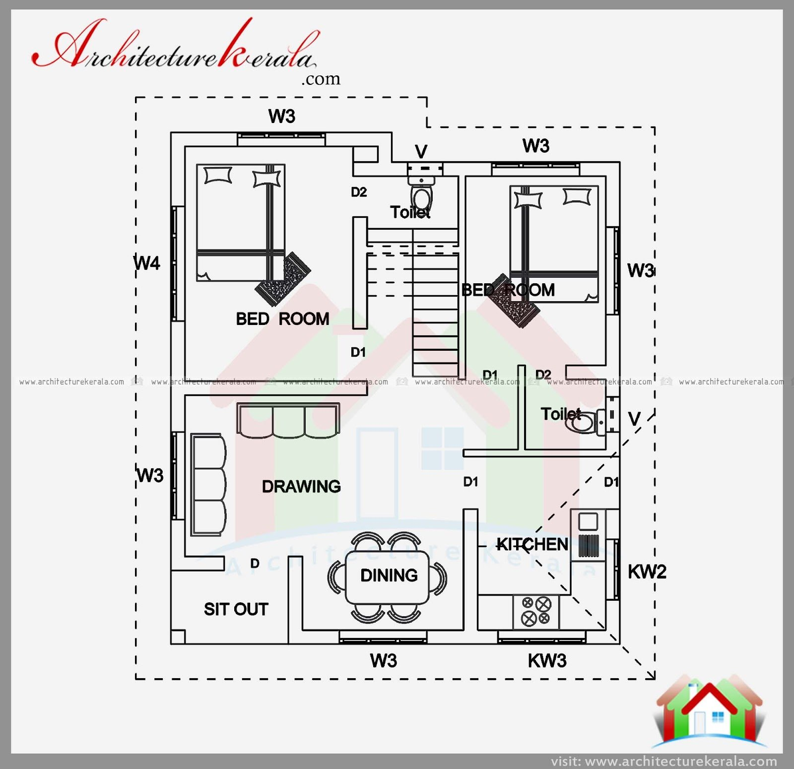 Best 2 Bedroom House Plan And Elevation In 700 Sqft With Pictures
