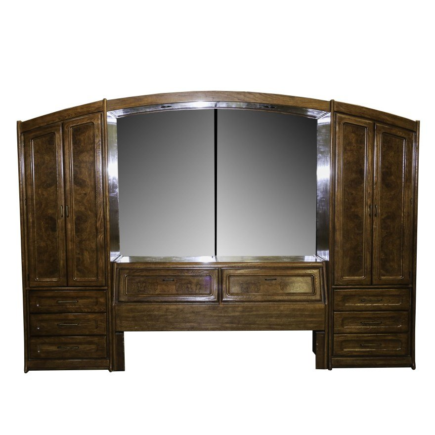 Best Queen Headboard And Side Cabinet Bedroom Ensemble Ebth With Pictures