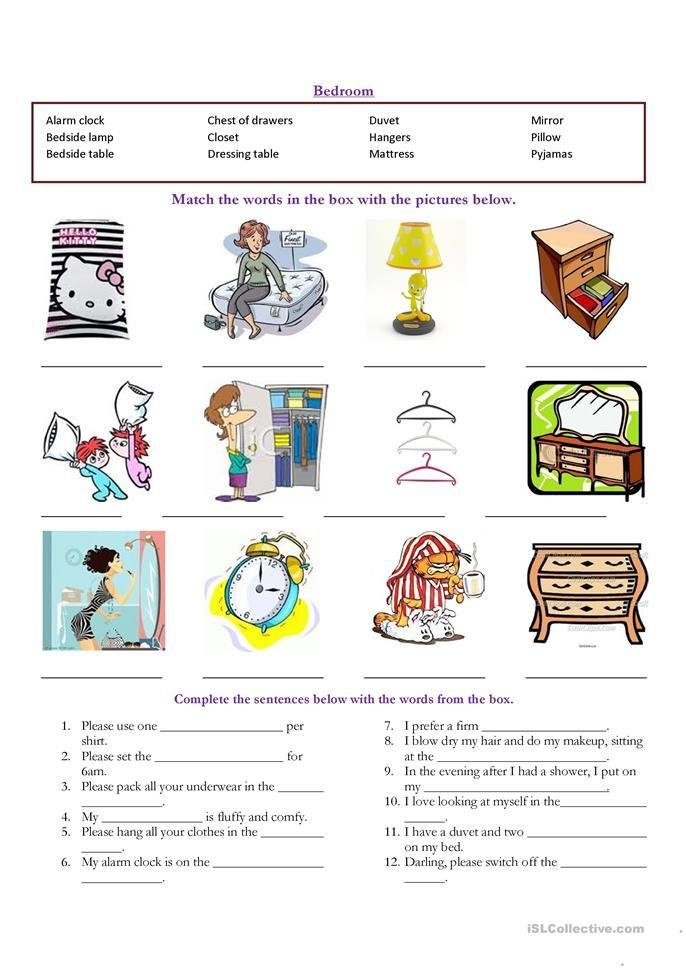 Best Bedroom Vocabulary Worksheet Free Esl Printable With Pictures