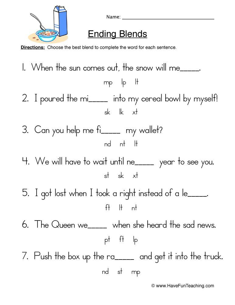 Best Resources Phonics Blends Worksheets With Pictures
