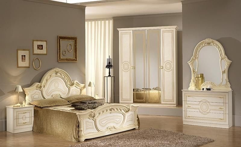Best Italian Beige High Gloss Bedroom Furniture Set Homegenies With Pictures