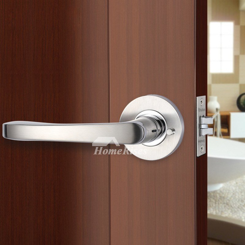 Best Bedroom Door Lock Handle Without Key Brushed Stainless With Pictures