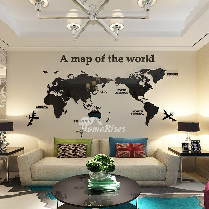 Best World Map Wall Decal 3D Acrylic Blue Red Black Decorative With Pictures